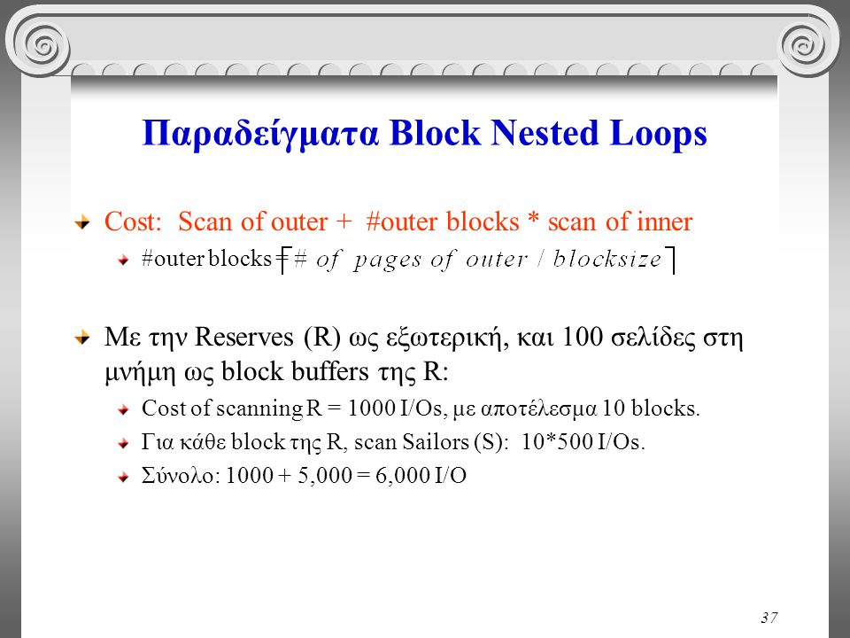 37 Παραδείγματα Block Nested Loops Cost: Scan of outer + #outer blocks * scan of inner #outer blocks = Με την Reserves (R) ως εξωτερική, και 100 σελίδ