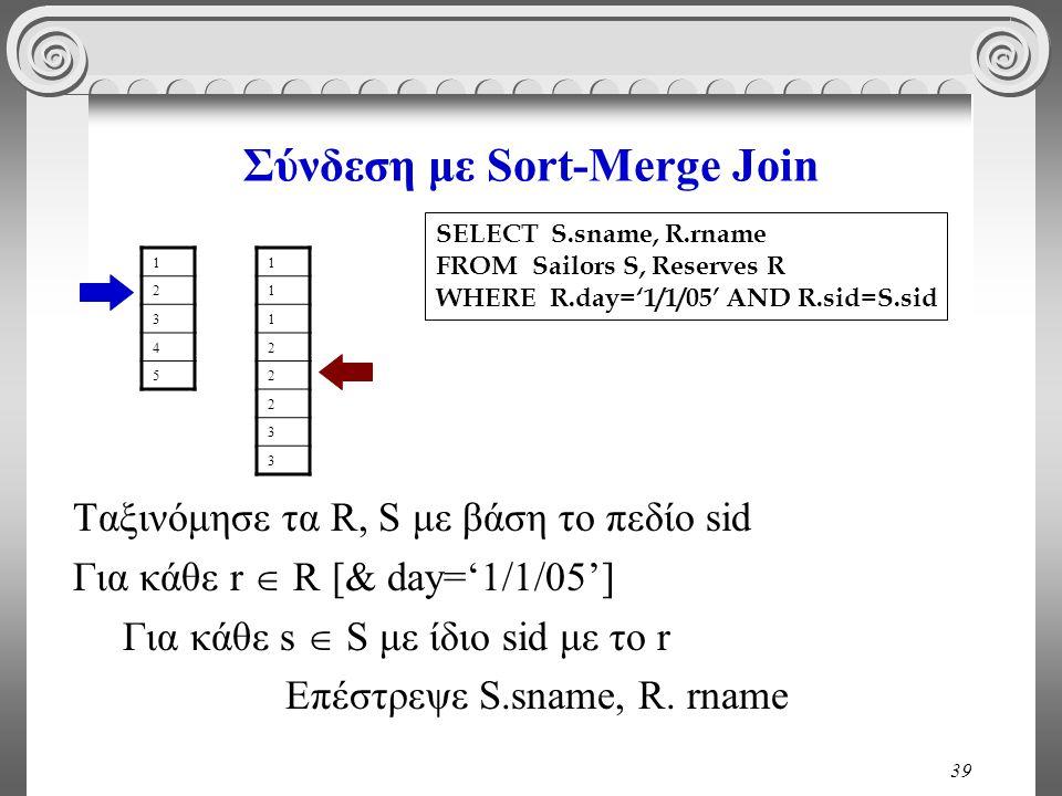 39 Σύνδεση με Sort-Merge Join Ταξινόμησε τα R, S με βάση το πεδίο sid Για κάθε r  R [& day='1/1/05'] Για κάθε s  S με ίδιο sid με το r Επέστρεψε S.sname, R.