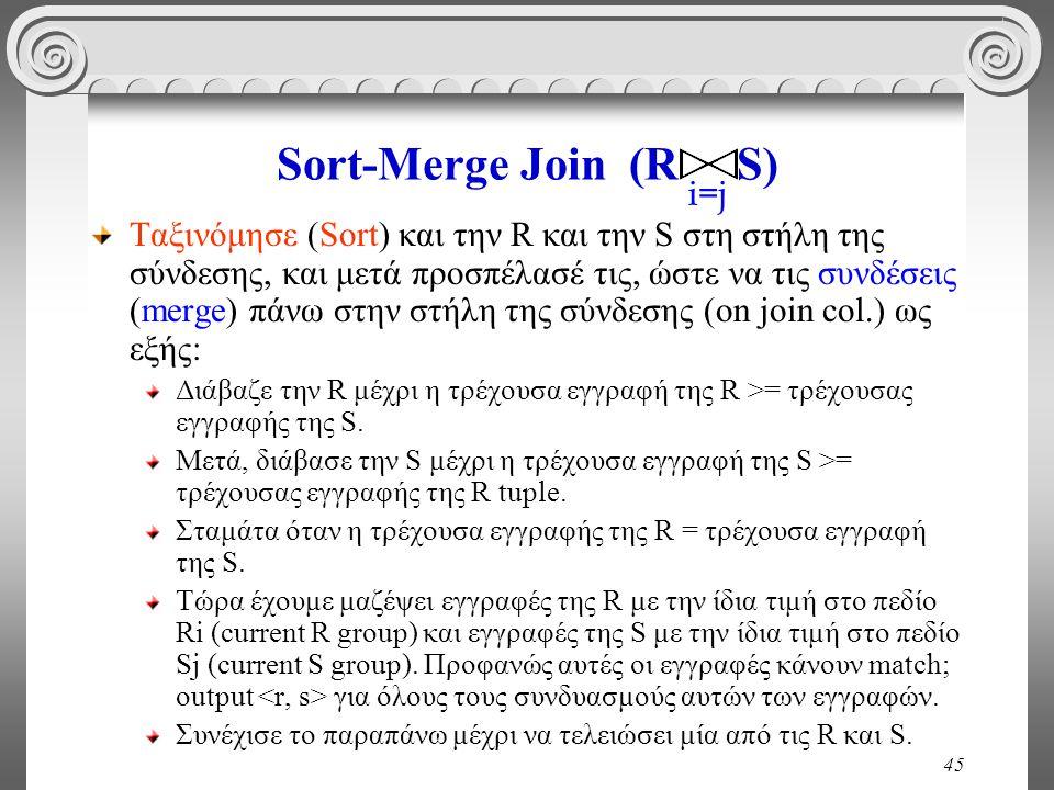45 Sort-Merge Join (R S) Ταξινόμησε (Sort) και την R και την S στη στήλη της σύνδεσης, και μετά προσπέλασέ τις, ώστε να τις συνδέσεις (merge) πάνω στη