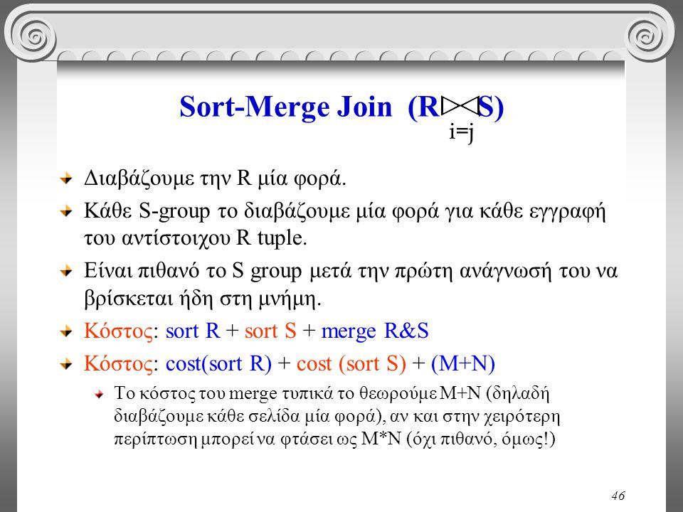 46 Sort-Merge Join (R S) Διαβάζουμε την R μία φορά. Κάθε S-group το διαβάζουμε μία φορά για κάθε εγγραφή του αντίστοιχου R tuple. Είναι πιθανό το S gr