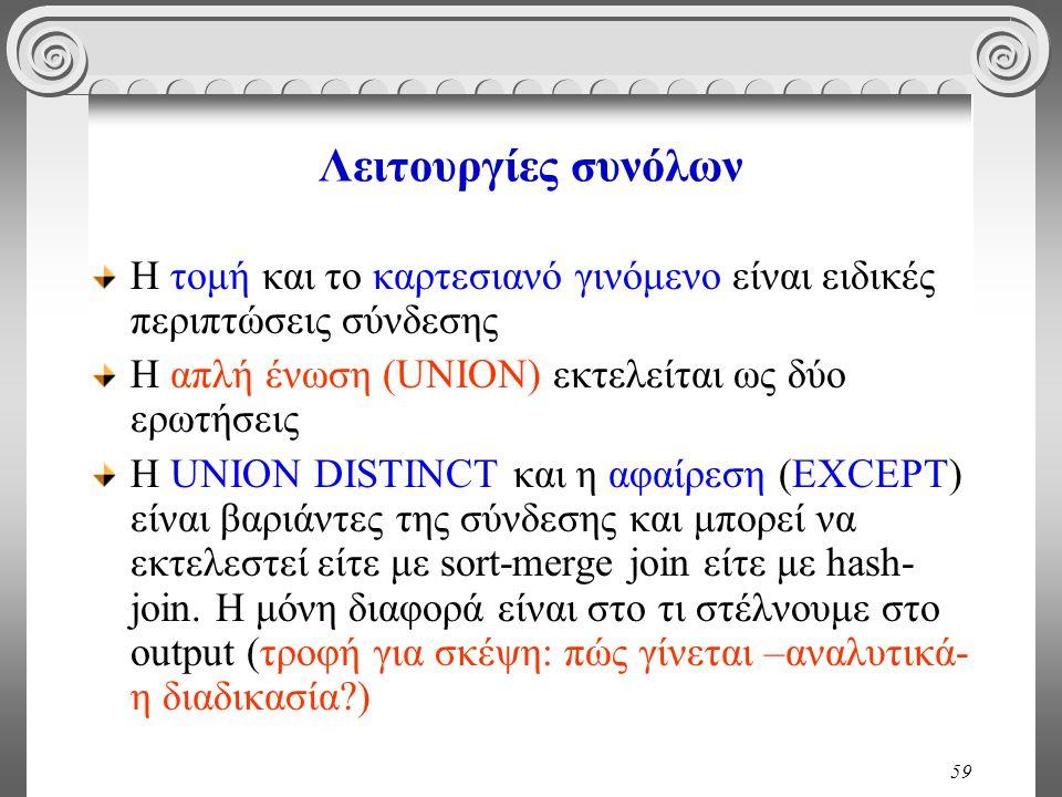 59 Λειτουργίες συνόλων Η τομή και το καρτεσιανό γινόμενο είναι ειδικές περιπτώσεις σύνδεσης Η απλή ένωση (UNION) εκτελείται ως δύο ερωτήσεις Η UNION D