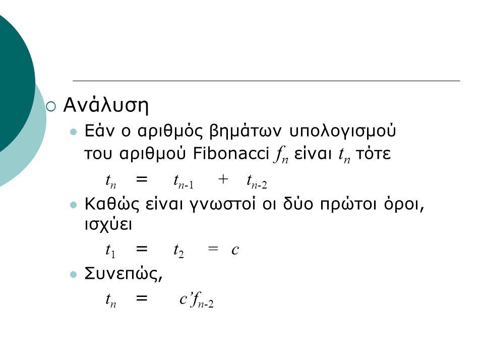  Ανάλυση Εάν ο αριθμός βημάτων υπολογισμού του αριθμού Fibonacci f n είναι t n τότε t n = t n-1 + t n-2 Καθώς είναι γνωστοί οι δύο πρώτοι όροι, ισχύε