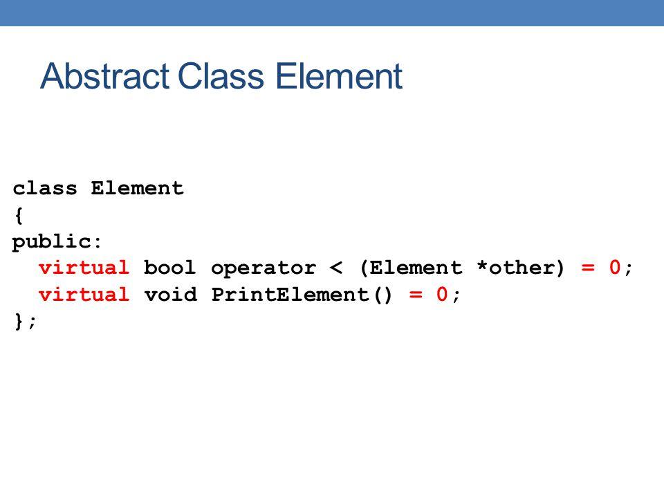 Array::Array(int s) { size = s; A = new Element*[size]; } Element *& Array::operator [] (int i) { return A[i]; } void Array::Print() { for (int i = 0; i < 10; i ++){ A[i]->Print(); } void Array::Sort() { for (int i = 0; i < 10; i ++){ for (int j = i+1; j < 10; j ++){ if (*A[i] < A[j]){ Element *temp = A[i]; A[i] = A[j]; A[j] = temp; } Η κατασκευή αυτή είναι απαραίτητη γιατί χρειαζόμαστε ένα αντικείμενο Element (το *Α[i]) για να χρησιμοποιήσουμε τον τελεστή < πάνω σε ένα δείκτη σε αντικείμενο Element (το A[j]) Εναλλακτικά: A[i]->operator<(A[j]) Θα θέλαμε: *A[i] < *A[j]