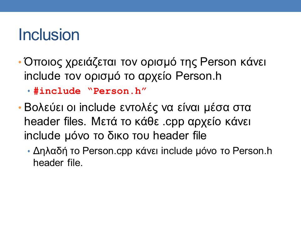 Inclusion Όποιος χρειάζεται τον ορισμό της Person κάνει include τον ορισμό το αρχείο Person.h #include Person.h Βολεύει οι include εντολές να είναι μέσα στα header files.