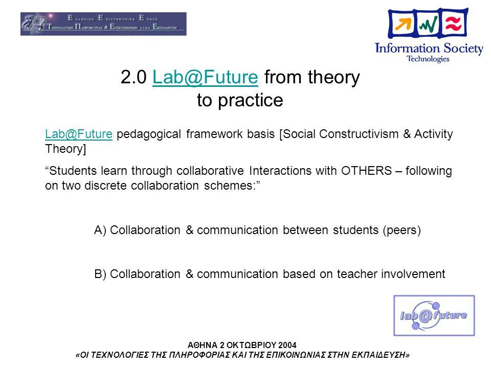 ΑΘΗΝΑ 2 ΟΚΤΩΒΡΙΟΥ 2004 «ΟΙ ΤΕΧΝΟΛΟΓΙΕΣ ΤΗΣ ΠΛΗΡΟΦΟΡΙΑΣ ΚΑΙ ΤΗΣ ΕΠΙΚΟΙΝΩΝΙΑΣ ΣΤΗΝ ΕΚΠΑΙΔΕΥΣΗ» 2.0 Lab@Future from theory to practiceLab@Future Lab@Future pedagogical framework basis [Social Constructivism & Activity Theory] Students learn through collaborative Interactions with OTHERS – following on two discrete collaboration schemes: A) Collaboration & communication between students (peers) B) Collaboration & communication based on teacher involvement