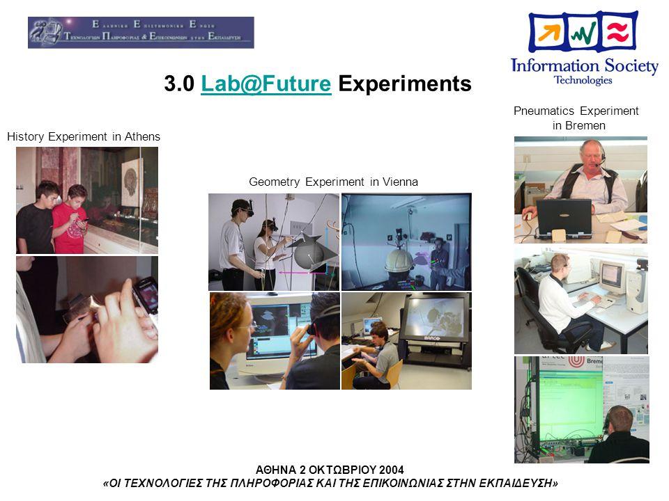 ΑΘΗΝΑ 2 ΟΚΤΩΒΡΙΟΥ 2004 «ΟΙ ΤΕΧΝΟΛΟΓΙΕΣ ΤΗΣ ΠΛΗΡΟΦΟΡΙΑΣ ΚΑΙ ΤΗΣ ΕΠΙΚΟΙΝΩΝΙΑΣ ΣΤΗΝ ΕΚΠΑΙΔΕΥΣΗ» 3.0 Lab@Future ExperimentsLab@Future History Experiment in Athens Geometry Experiment in Vienna Pneumatics Experiment in Bremen