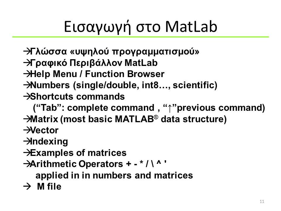 Εισαγωγή στo MatLab 11  Γλώσσα «υψηλού προγραμματισμού»  Γραφικό Περιβάλλον MatLab  Help Menu / Function Browser  Numbers (single/double, int8…, s