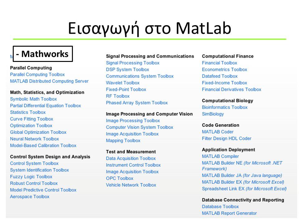 Εισαγωγή στo MatLab 5 -Το MatLab είναι μια 4 ου επιπέδου γλώσσα προγραμματισμού -Δεν κανει περισσοτερα πράγματα άπο την C ή την Fortran Τα κάνει ευκολότερα Τί είναι το MatLab ?