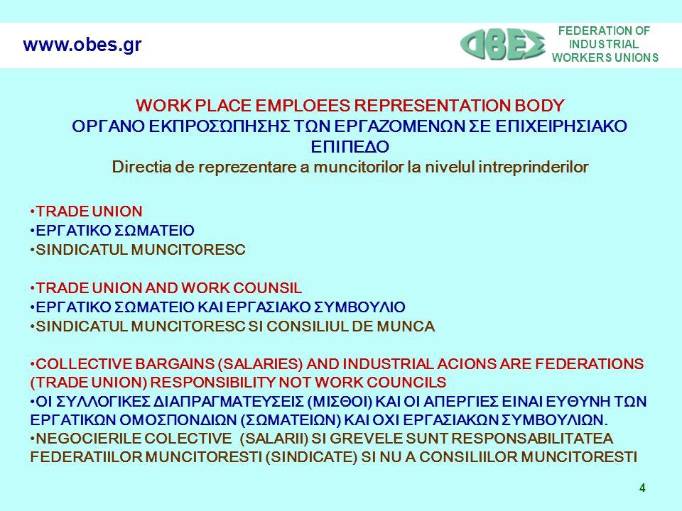 FEDERATION OF INDUSTRIAL WORKERS UNIONS 5 www.obes.gr COMPOSITION OF THE REPRESENTATION BODY ΑΠΟ ΠΟΙΟΥΣ ΑΠΟΤΕΛΕΙΤΕ ΤΟ ΟΡΓΑΝΟ ΕΚΠΡΟΣΩΠΗΣΗΣ ΤΩΝ ΕΡΓΑΖΟΜΕΝΩΝ ΣΕ ΕΠΙΧΕΙΡΗΣΙΑΚΟ ΕΠΙΠΕΔΟ ALCATUIREA CORPULUI REPREZENATIV EMPLOYERS AND EMPLOYEES ΕΡΓΟΔΟΤΕΣ ΚΑΙ ΕΡΓΑΖΟΜΕΝΟΙ ANGAJATORI SI ANGAJATI (NORWAY, DANMARK, FINLAND, FRANCE, BELGIUM, LUXEMBURG) ONLY EMPLOEES (ALL OTHER COUNTRIES) ΜΟΝΟ ΕΡΓΑΖΟΜΕΝΟΙ (ΣΕ ΟΛΕΣ ΤΙΣ ΆΛΛΕΣ ΧΩΡΕΣ) NUMAI ANGAJATI (IN TOATE CELELATE TARI) WORK COUNCIL = BETRIEBSRAT = COMITE DE ENTERPRISE
