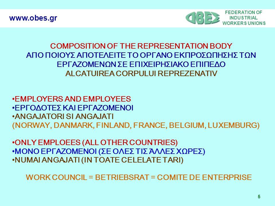 FEDERATION OF INDUSTRIAL WORKERS UNIONS 5 www.obes.gr COMPOSITION OF THE REPRESENTATION BODY ΑΠΟ ΠΟΙΟΥΣ ΑΠΟΤΕΛΕΙΤΕ ΤΟ ΟΡΓΑΝΟ ΕΚΠΡΟΣΩΠΗΣΗΣ ΤΩΝ ΕΡΓΑΖΟΜΕ