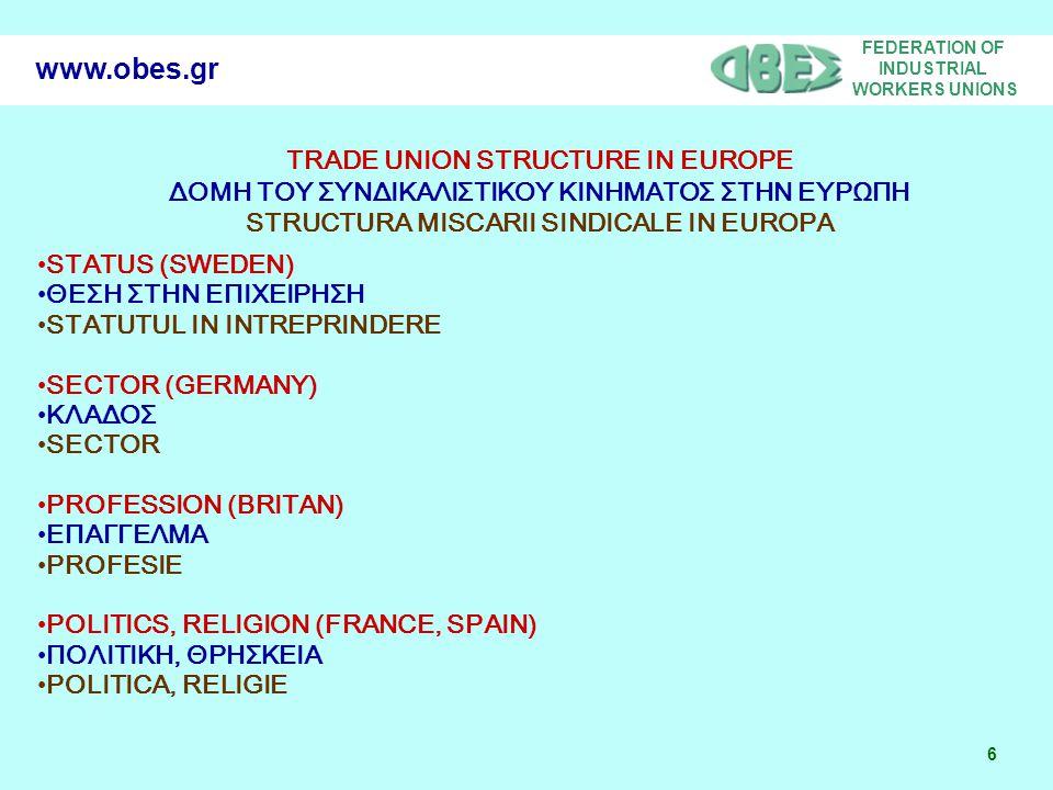 FEDERATION OF INDUSTRIAL WORKERS UNIONS 7 www.obes.gr EUROPEAN INDUSTRIAL RELATION MODELS «ΜΟΝΤΕΛΛΑ ΕΥΡΩΠΑΙΚΩΝ ΕΡΓΑΣΙΑΚΩΝ ΣΧΕΣΕΩΝ» RELATIA EUROPEANA INDUSTRIALA 'MODELE' GERMANIC (GERMANY) ΓΕΡΜΑΝΙΚΟ (ΓΕΡΜΑΝΙΑ) GERMANIC (GERMANIA) AGLO – SAXONIC (BRITAN) ΑΓΓΛΟΣΑΞΩΝΙΚΟ ANGLO-SAXON SOUTHERN EUROPEAN ΝΟΤΙΑΣ ΕΥΡΩΠΗΣ EUROPA DE SUD