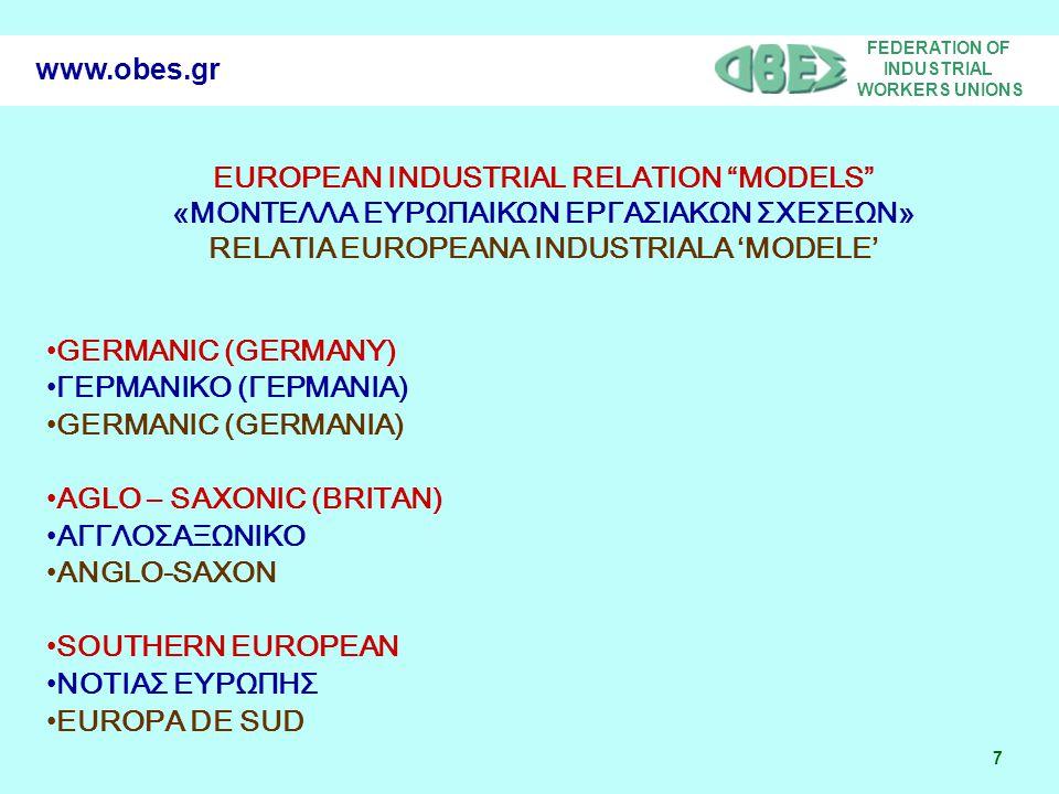 FEDERATION OF INDUSTRIAL WORKERS UNIONS 28 www.obes.gr Respecting industrial relations Σεβασμός εργασιακών σχέσεων Respectarea relatiilor de munca Workers representation systems and particularly EWC Συστήματα εκπροσώπησης των εργαζομένων και ειδικότερα Ευρωπαϊκά Συμβούλια Εργαζομένων.
