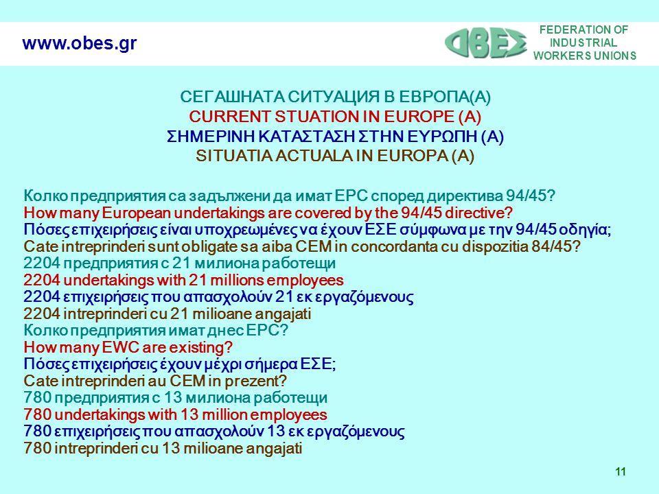 FEDERATION OF INDUSTRIAL WORKERS UNIONS 11 www.obes.gr СЕГАШНАТА СИТУАЦИЯ В ЕВРОПА(A) CURRENT STUATION IN EUROPE (A) ΣΗΜΕΡΙΝΗ ΚΑΤΑΣΤΑΣΗ ΣΤΗΝ ΕΥΡΩΠΗ (A) SITUATIA ACTUALA IN EUROPA (A) Колко предприятия са задължени да имат ЕРС според директива 94/45.