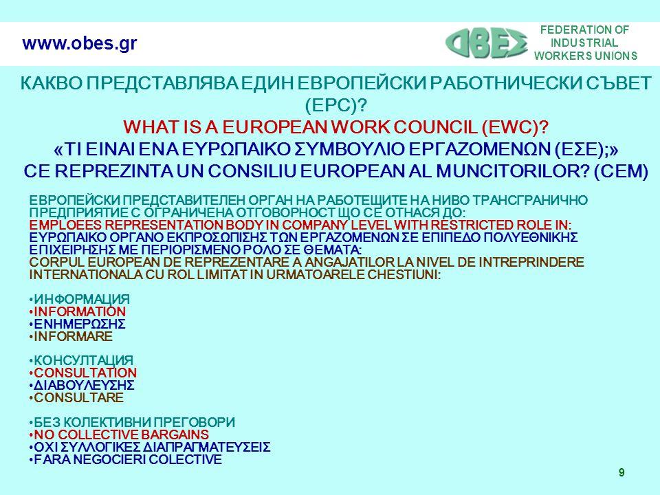 FEDERATION OF INDUSTRIAL WORKERS UNIONS 10 www.obes.gr КОГА СЕ СЪЗДАВА ЕВРОПЕЙСКИ РАБОТНИЧЕСКИ СЪЮЗ.
