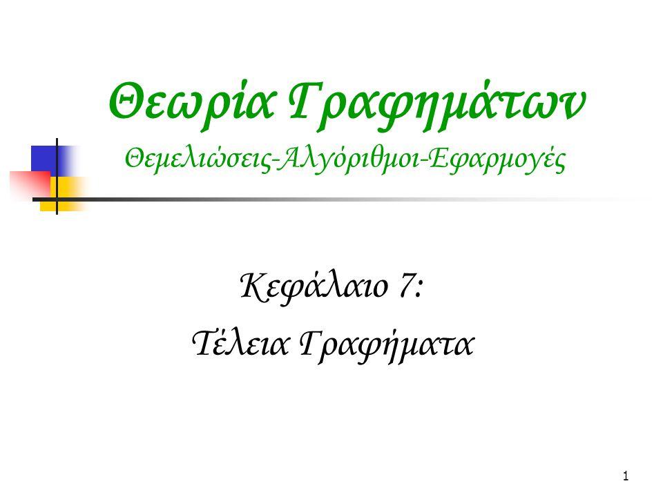 1 Θεωρία Γραφημάτων Θεμελιώσεις-Αλγόριθμοι-Εφαρμογές Κεφάλαιο 7: Τέλεια Γραφήματα