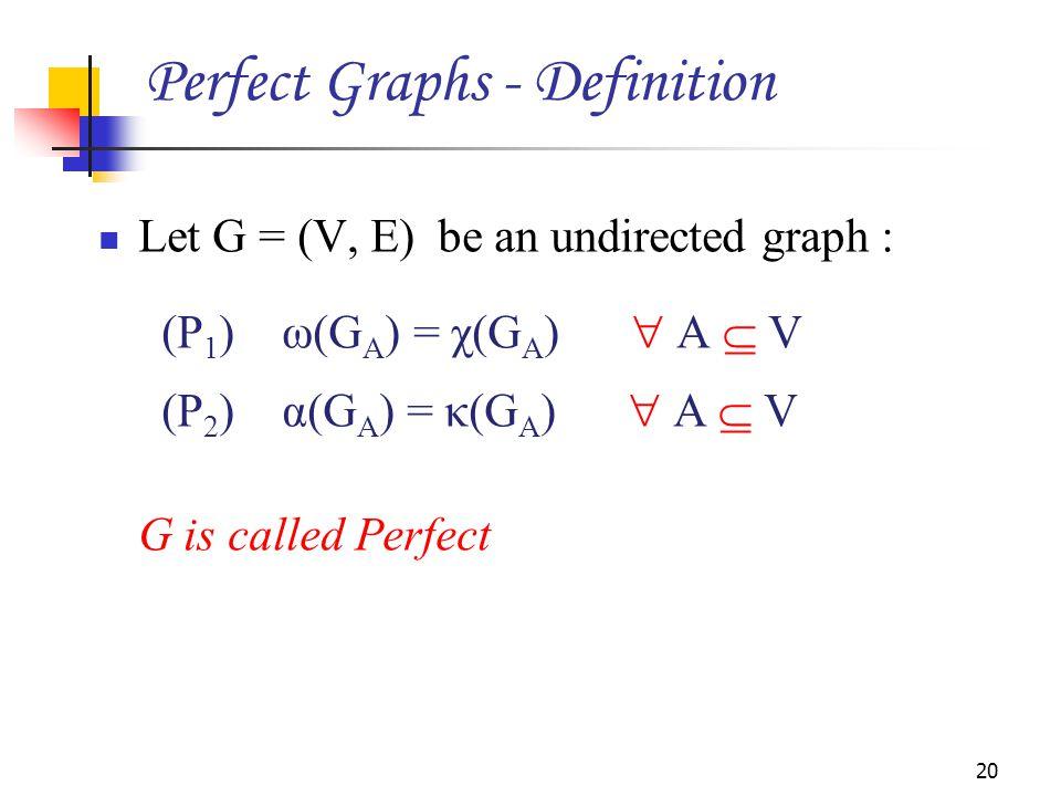 Let G = (V, E) be an undirected graph : (P 1 ) ω(G A ) = χ(G A )  A  V (P 2 ) α(G A ) = κ(G A )  A  V G is called Perfect 20 Perfect Graphs - Defi