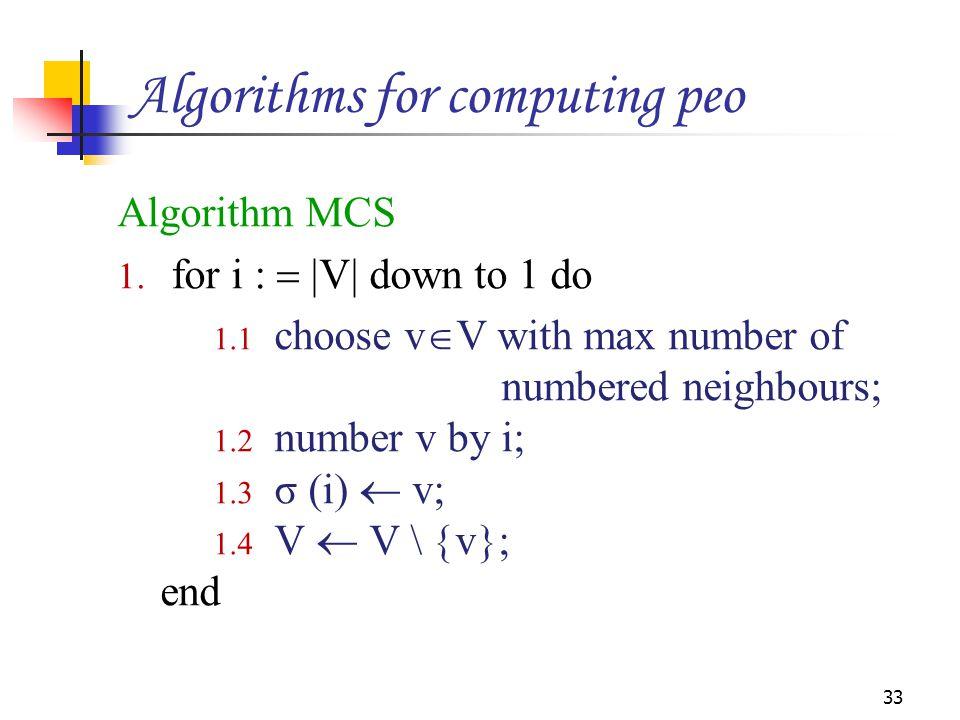 Algorithm MCS 1. for i :   V  down to 1 do 1.1 choose v  V with max number of numbered neighbours; 1.2 number v by i; 1.3 σ (i)  v; 1.4 V  V \ 
