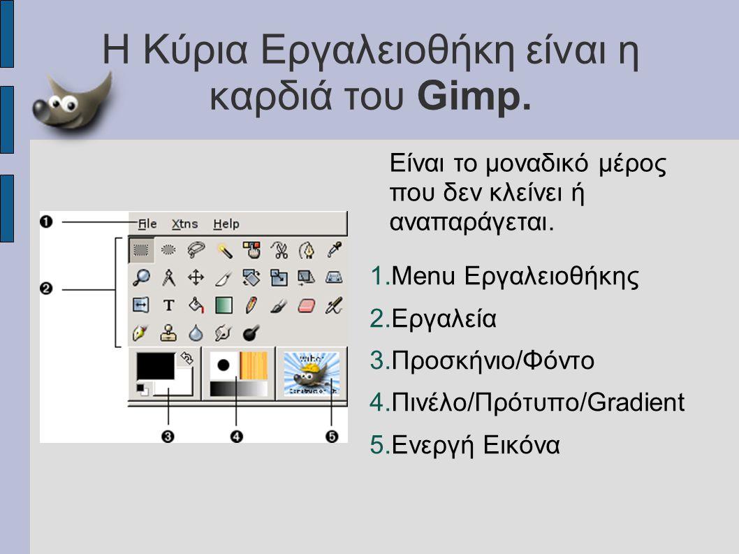 Η Κύρια Εργαλειοθήκη είναι η καρδιά του Gimp. 1.Menu Еργαλειοθήκης 2.Εργαλεία 3.Προσκήνιο/Φόντο 4.Πινέλο/Πρότυπο/Gradient 5.Ενεργή Εικόνα Είναι το μον
