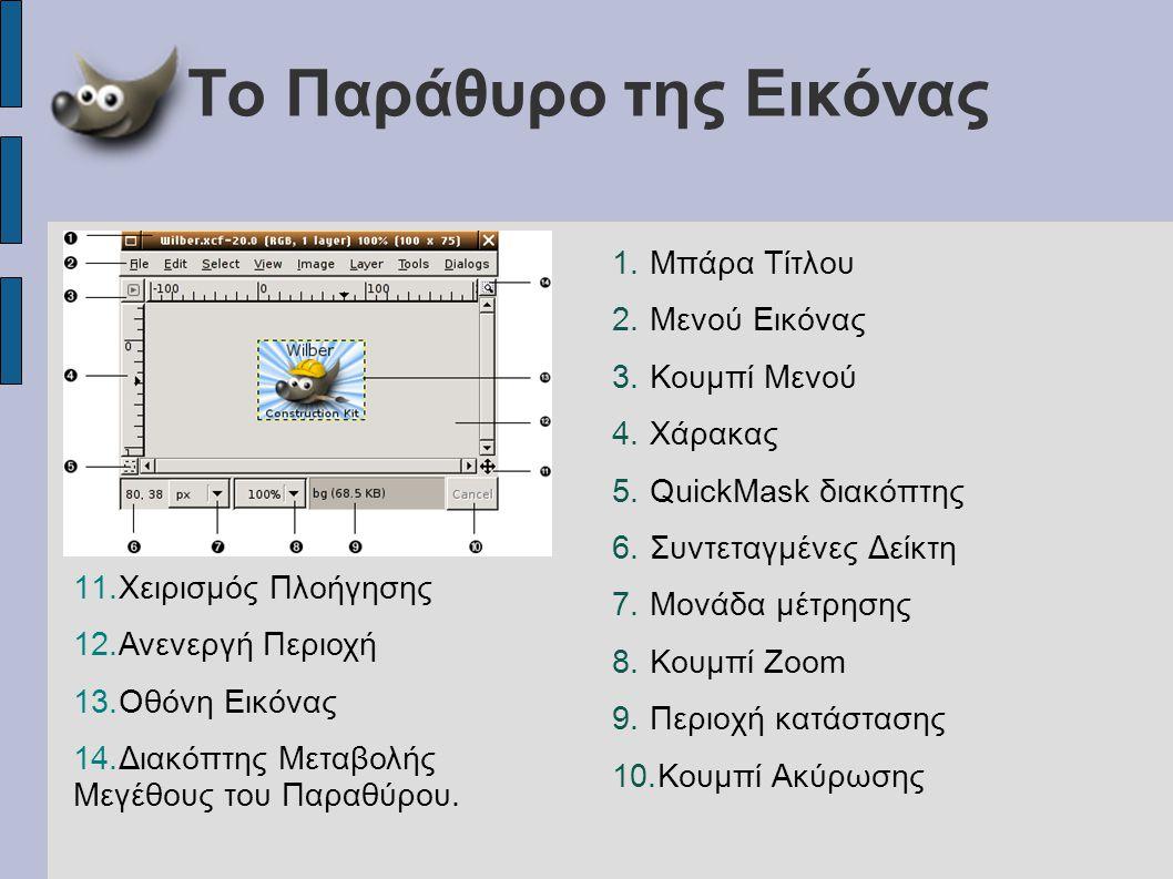 Το Παράθυρο της Εικόνας 1.Μπάρα Τίτλου 2.Μενού Εικόνας 3.Κουμπί Μενού 4.Χάρακας 5.QuickMask διακόπτης 6.Συντεταγμένες Δείκτη 7.Μονάδα μέτρησης 8.Κουμπ