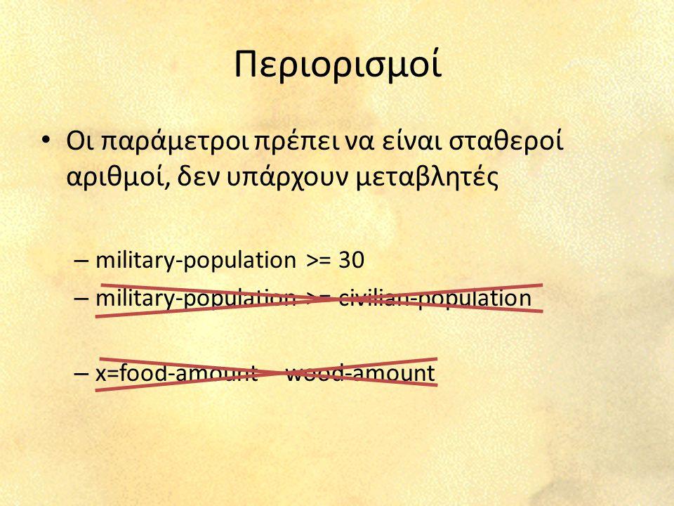 Περιορισμοί Οι παράμετροι πρέπει να είναι σταθεροί αριθμοί, δεν υπάρχουν μεταβλητές – military-population >= 30 – military-population >= civilian-population – x=food-amount – wood-amount