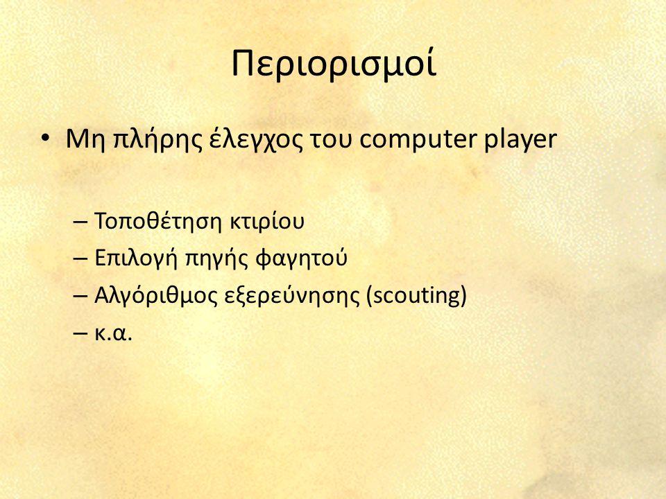Περιορισμοί Μη πλήρης έλεγχος του computer player – Τοποθέτηση κτιρίου – Επιλογή πηγής φαγητού – Αλγόριθμος εξερεύνησης (scouting) – κ.α.