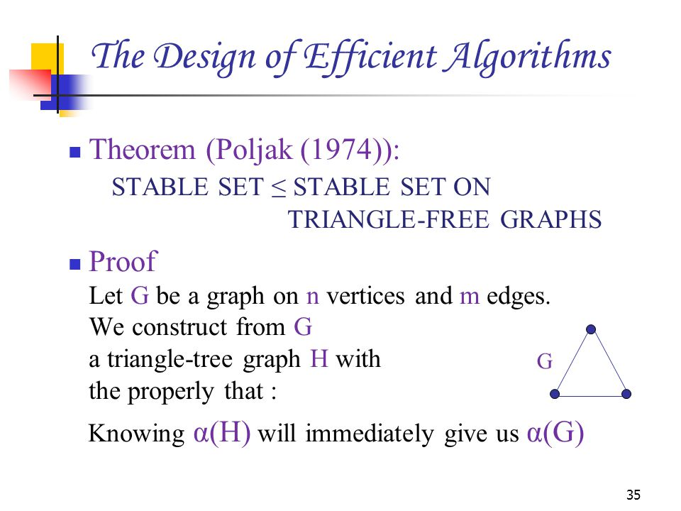 Theorem (Poljak (1974)): STABLE SET ≤ STABLE SET ON TRIANGLE-FREE GRAPHS Proof Let G be a graph on n vertices and m edges.