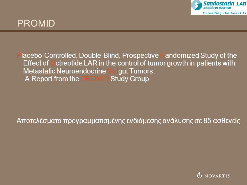 PROMID Στόχος της μελέτης  Η εκτίμηση της αντινεοπλασματικής δράσης της οκτρεοτίδης LAR, χορηγούμενης σε ασθενείς με καλά διαφοροποιημένους, τοπικά ανεγχείρητους ή μεταστατικούς νευροενδοκρινικούς όγκους του μέσου εντέρου.