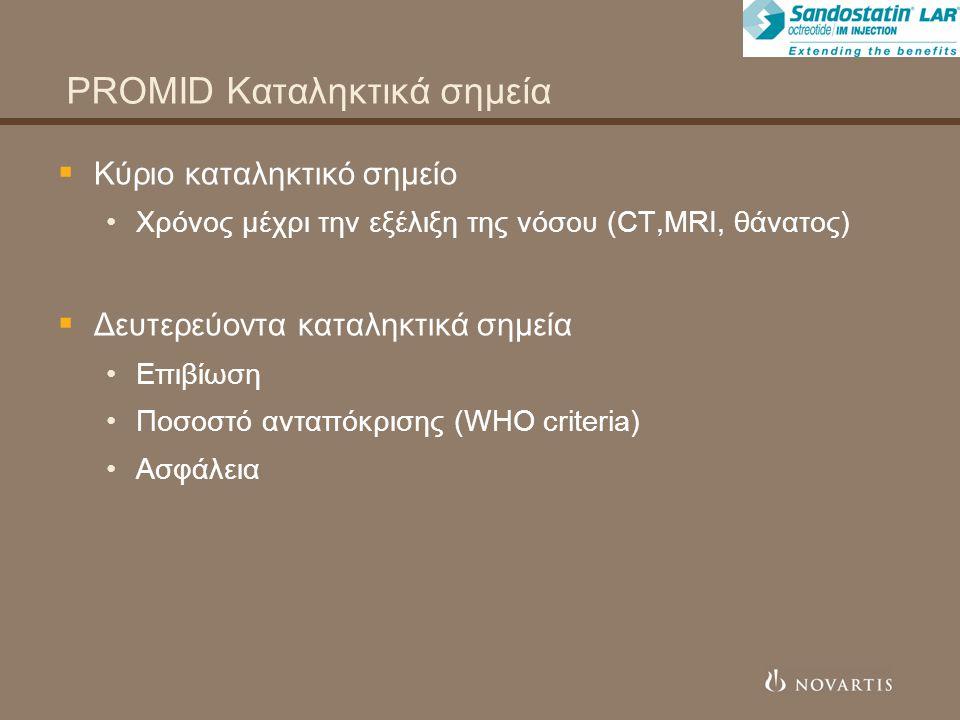 PROMID Καταληκτικά σημεία  Κύριο καταληκτικό σημείο Χρόνος μέχρι την εξέλιξη της νόσου (CT,MRI, θάνατος)  Δευτερεύοντα καταληκτικά σημεία Επιβίωση Ποσοστό ανταπόκρισης (WHO criteria) Ασφάλεια