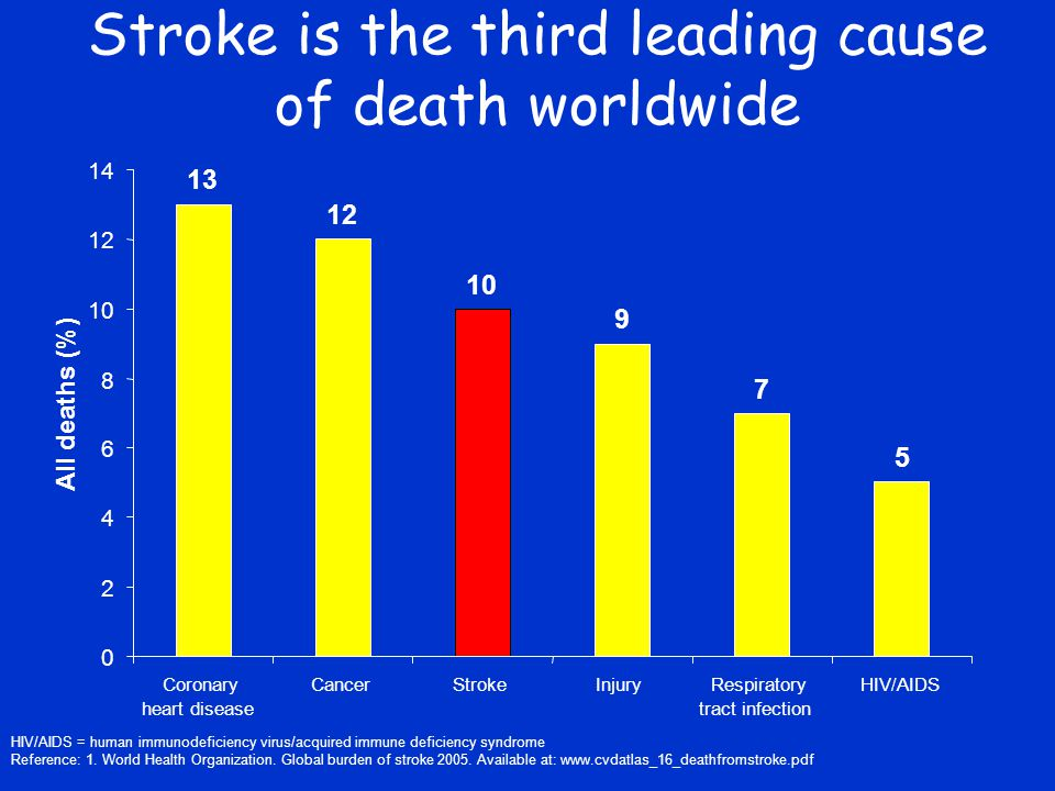 Stroke is the third leading cause of death worldwide HIV/AIDS = human immunodeficiency virus/acquired immune deficiency syndrome Reference: 1.