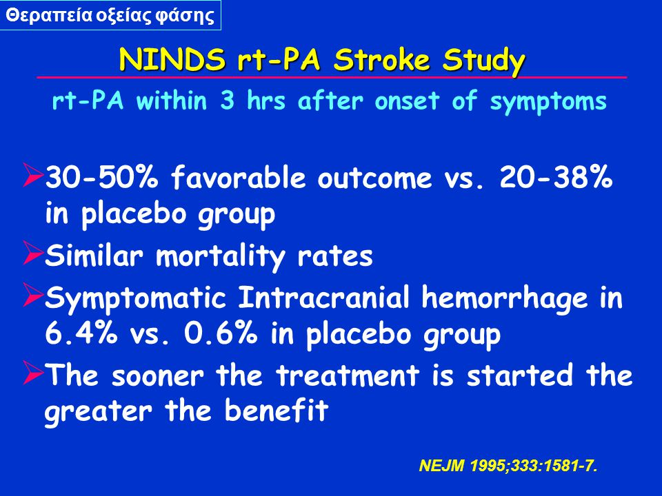 rt-PA within 3 hrs after onset of symptoms  30-50% favorable outcome vs.