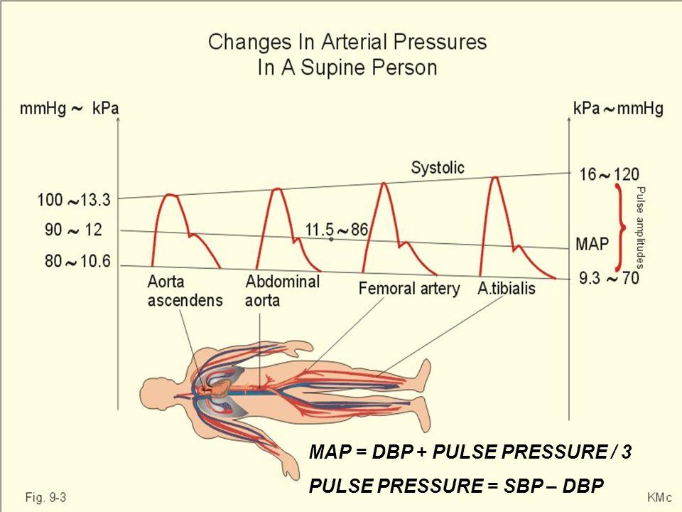 MAP = DBP + PULSE PRESSURE / 3 PULSE PRESSURE = SBP – DBP