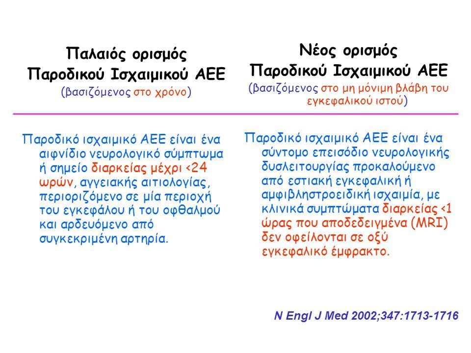 Παλαιός ορισμός Παροδικού Ισχαιμικού ΑΕΕ (βασιζόμενος στο χρόνο) Παροδικό ισχαιμικό ΑΕΕ είναι ένα αιφνίδιο νευρολογικό σύμπτωμα ή σημείο διαρκείας μέχρι <24 ωρών, αγγειακής αιτιολογίας, περιοριζόμενο σε μία περιοχή του εγκεφάλου ή του οφθαλμού και αρδευόμενο από συγκεκριμένη αρτηρία.