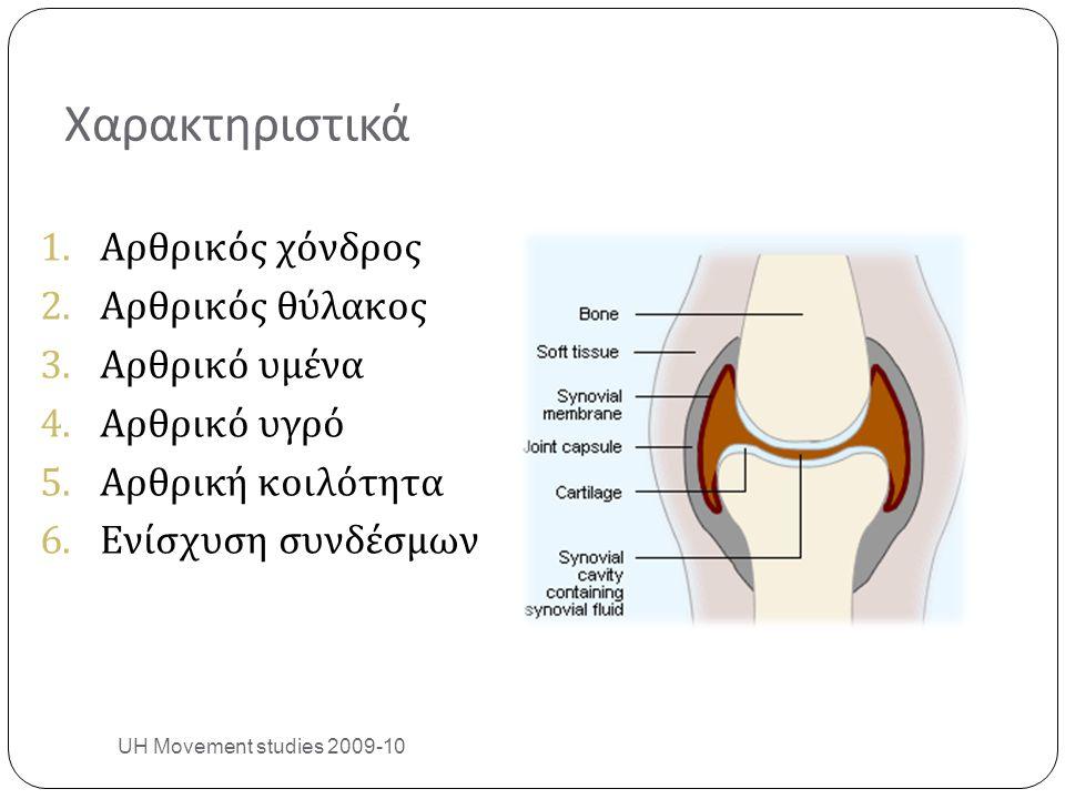 Χαρακτηριστικά 1.Αρθρικός χόνδρος 2.Αρθρικός θύλακος 3.Αρθρικό υμένα 4.Αρθρικό υγρό 5.Αρθρική κοιλότητα 6.Ενίσχυση συνδέσμων UH Movement studies 2009-