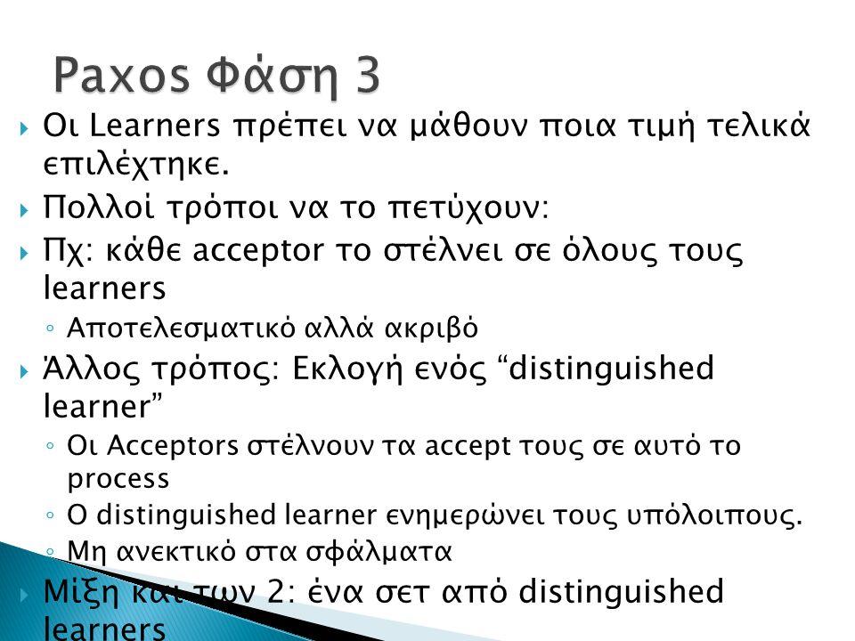  Οι Learners πρέπει να μάθουν ποια τιμή τελικά επιλέχτηκε.  Πολλοί τρόποι να το πετύχουν:  Πχ: κάθε acceptor το στέλνει σε όλους τους learners ◦ Απ