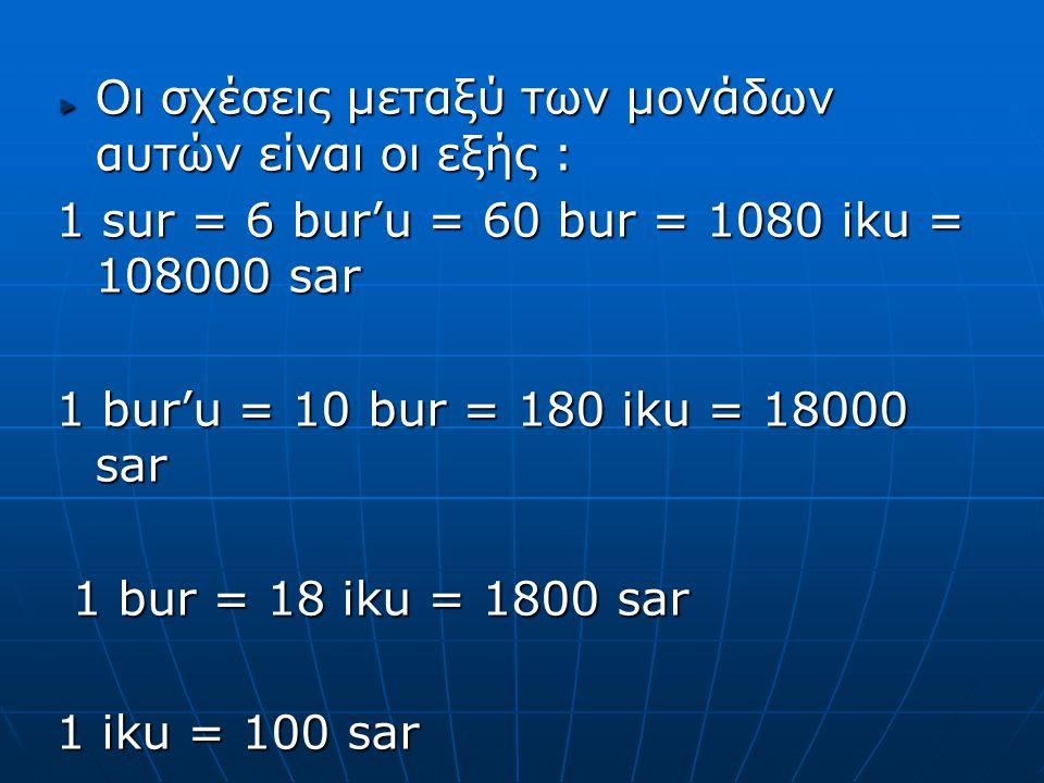 Οι σχέσεις μεταξύ των μονάδων αυτών είναι οι εξής : 1 sur = 6 bur'u = 60 bur = 1080 iku = 108000 sar 1 bur'u = 10 bur = 180 iku = 18000 sar 1 bur = 18