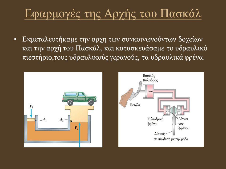 Εφαρμογές της Αρχής του Πασκάλ Εκμεταλευτήκαμε την αρχη των συγκοινωνούντων δοχείων και την αρχή του Πασκάλ, και κατασκευάσαμε το υδραυλικό πιεστήριο,
