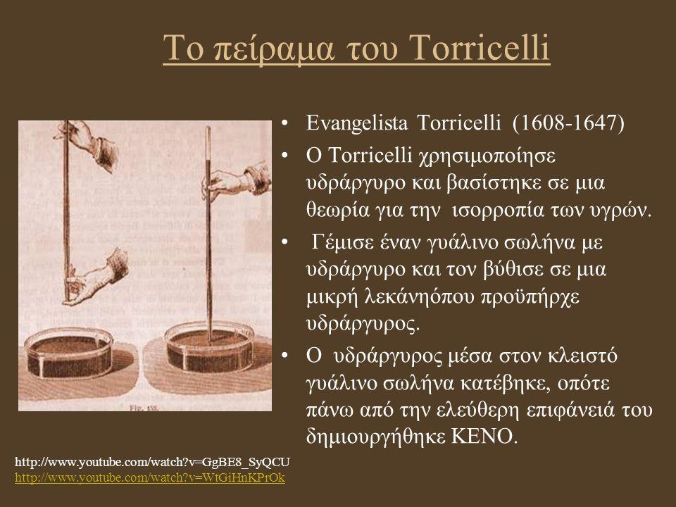 Το πείραμα του Torricelli Evangelista Torricelli (1608-1647) Ο Torricelli χρησιμοποίησε υδράργυρο και βασίστηκε σε μια θεωρία για την ισορροπία των υγ