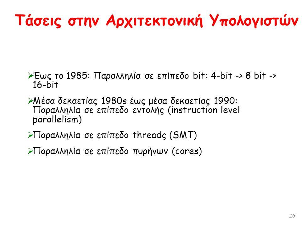 26 Τάσεις στην Αρχιτεκτονική Υπολογιστών  Έως το 1985: Παραλληλία σε επίπεδο bit: 4-bit -> 8 bit -> 16-bit  Μέσα δεκαετίας 1980s έως μέσα δεκαετίας 1990: Παραλληλία σε επίπεδο εντολής (instruction level parallelism)  Παραλληλία σε επίπεδο threadς (SMT)  Παραλληλία σε επίπεδο πυρήνων (cores)