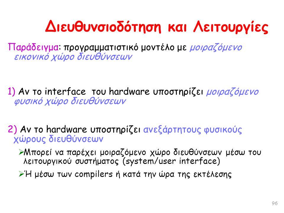 96 Διευθυνσιοδότηση και Λειτουργίες Παράδειγμα: προγραμματιστικό μοντέλο με μοιραζόμενο εικονικό χώρο διευθύνσεων 1) Αν το interface του hardware υποστηρίζει μοιραζόμενο φυσικό χώρο διευθύνσεων 2) Αν το hardware υποστηρίζει ανεξάρτητους φυσικούς χώρους διευθύνσεων  Μπορεί να παρέχει μοιραζόμενο χώρο διευθύνσεων μέσω του λειτουργικού συστήματος (system/user interface)  Ή μέσω των compilers ή κατά την ώρα της εκτέλεσης