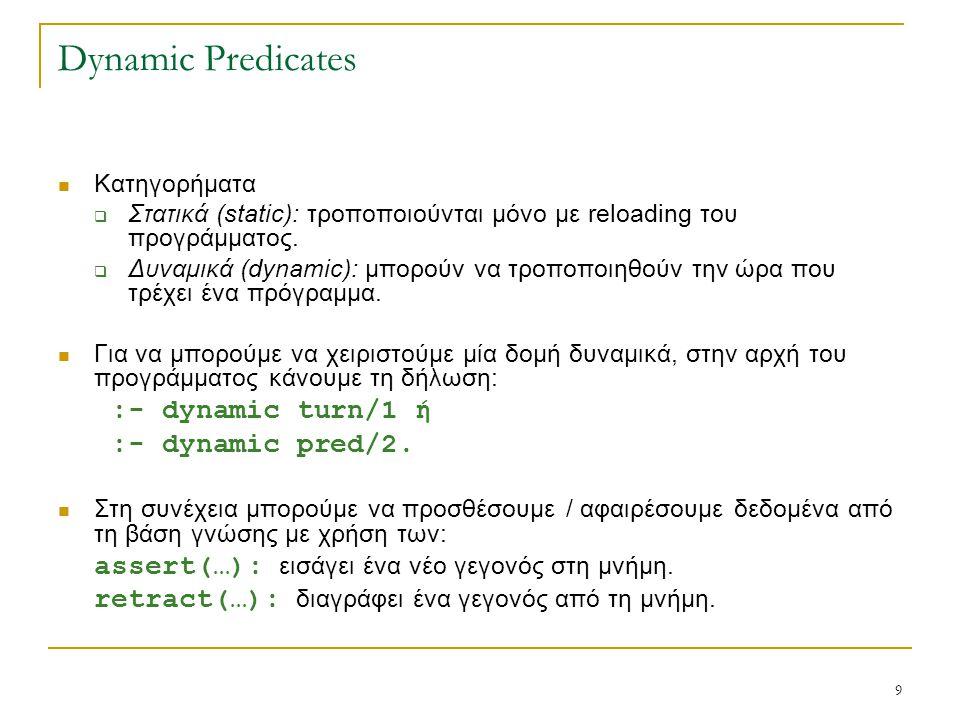9 Dynamic Predicates Κατηγορήματα  Στατικά (static): τροποποιούνται μόνο με reloading του προγράμματος.  Δυναμικά (dynamic): μπορούν να τροποποιηθού