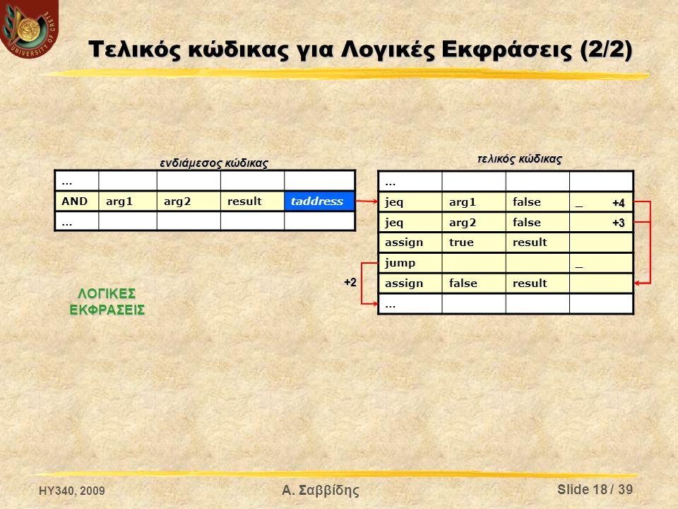 Τελικός κώδικας για Λογικές Εκφράσεις (2/2) … ANDarg1arg2resulttaddress … … jeqarg1false_ jeqarg2false assigntrueresult jump_ assignfalseresult … ενδιάμεσος κώδικας τελικός κώδικας ΛΟΓΙΚΕΣΕΚΦΡΑΣΕΙΣ +4 +3 +2 HY340, 2009 Slide 18 / 39 Α.