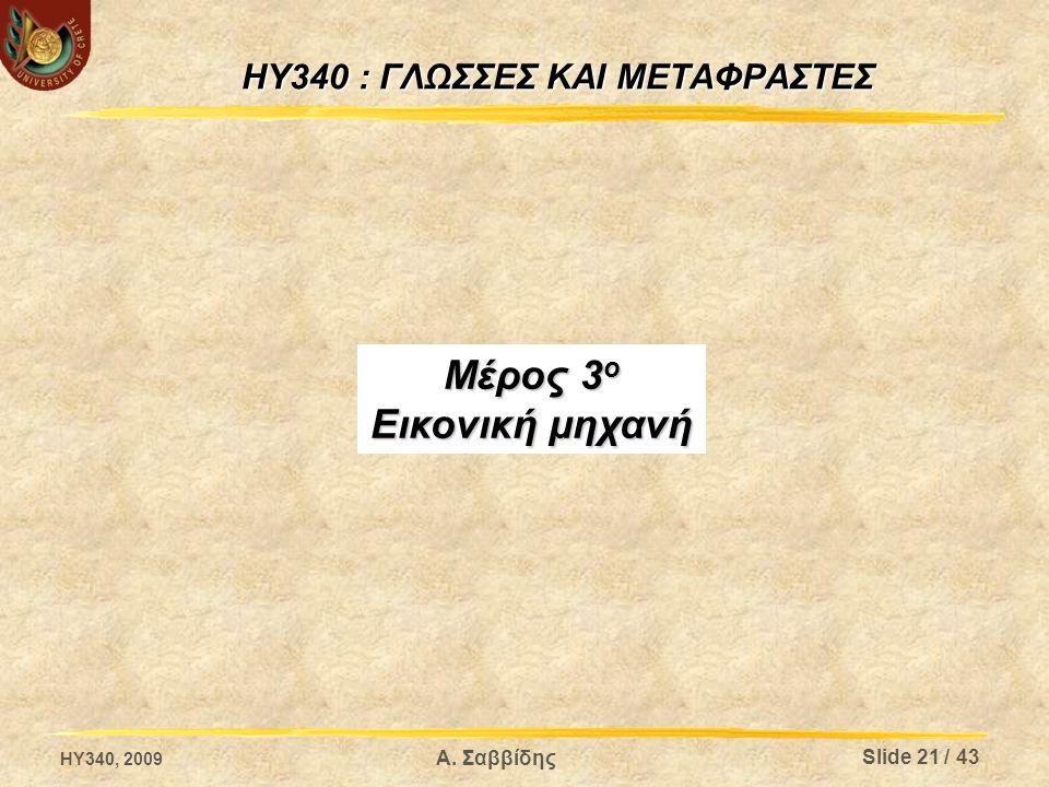 HY340 : ΓΛΩΣΣΕΣ ΚΑΙ ΜΕΤΑΦΡΑΣΤΕΣ Μέρος 3 ο Εικονική μηχανή HY340, 2009 Slide 21 / 43 Α. Σαββίδης