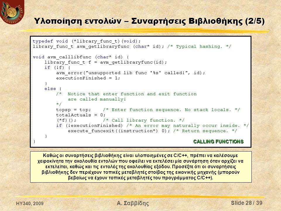 Υλοποίηση εντολών – Συναρτήσεις Βιβλιοθήκης (2/5) Καθώς οι συναρτήσεις βιβλιοθήκης είναι υλοποιημένες σε C/C++, πρέπει να καλέσουμε χειροκίνητα την ακολουθία εντολών που οφείλει να εκτελέσει μία συνάρτηση όταν αρχίζει να εκτελείται, καθώς και τις εντολές της ακολουθίας εξόδου.