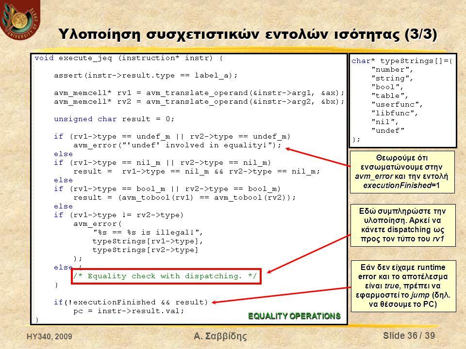 Υλοποίηση συσχετιστικών εντολών ισότητας (3/3) Θεωρούμε ότι ενσωματώνουμε στην avm_error και την εντολή executionFinished=1 Εδώ συμπληρώστε την υλοποίηση.
