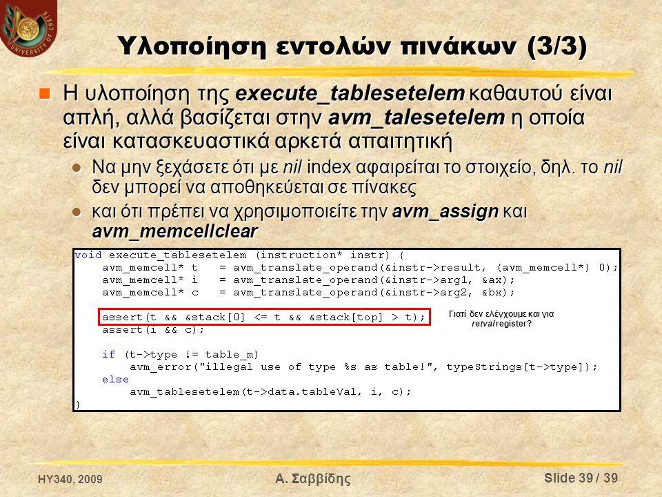 Υλοποίηση εντολών πινάκων (3/3) Η υλοποίηση της execute_tablesetelem καθαυτού είναι απλή, αλλά βασίζεται στην avm_talesetelem η οποία είναι κατασκευαστικά αρκετά απαιτητική Η υλοποίηση της execute_tablesetelem καθαυτού είναι απλή, αλλά βασίζεται στην avm_talesetelem η οποία είναι κατασκευαστικά αρκετά απαιτητική Να μην ξεχάσετε ότι με nil index αφαιρείται το στοιχείο, δηλ.