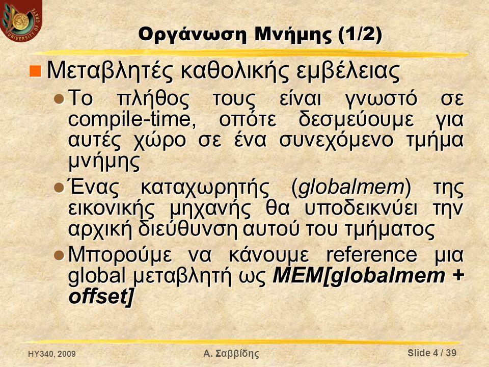 Οργάνωση Μνήμης (1/2) Μεταβλητές καθολικής εμβέλειας Μεταβλητές καθολικής εμβέλειας Το πλήθος τους είναι γνωστό σε compile-time, οπότε δεσμεύουμε για αυτές χώρο σε ένα συνεχόμενο τμήμα μνήμης Το πλήθος τους είναι γνωστό σε compile-time, οπότε δεσμεύουμε για αυτές χώρο σε ένα συνεχόμενο τμήμα μνήμης Ένας καταχωρητής (globalmem) της εικονικής μηχανής θα υποδεικνύει την αρχική διεύθυνση αυτού του τμήματος Ένας καταχωρητής (globalmem) της εικονικής μηχανής θα υποδεικνύει την αρχική διεύθυνση αυτού του τμήματος Μπορούμε να κάνουμε reference μια global μεταβλητή ως MEM[globalmem + offset] Μπορούμε να κάνουμε reference μια global μεταβλητή ως MEM[globalmem + offset] HY340, 2009 Slide 4 / 39 Α.