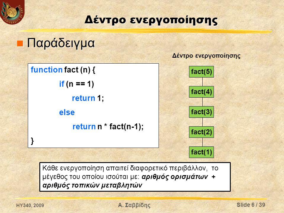 Δέντρο ενεργοποίησης Παράδειγμα Παράδειγμα function fact (n) { if (n == 1) return 1; else return n * fact(n-1); } fact(5) fact(4) fact(3) fact(2) fact(1) Δέντρο ενεργοποίησης Κάθε ενεργοποίηση απαιτεί διαφορετικό περιβάλλον, το μέγεθος του οποίου ισούται με: αριθμός ορισμάτων + αριθμός τοπικών μεταβλητών HY340, 2009 Slide 6 / 39 Α.