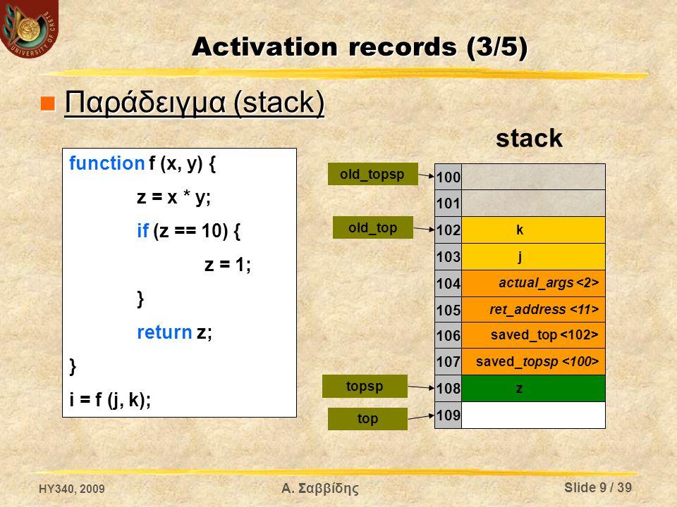 Activation records (3/5) Παράδειγμα (stack) Παράδειγμα (stack) k j actual_args ret_address stack 100 101 102 103 104 105 saved_topsp saved_top 106 107 109 z 108 top topsp old_top old_topsp function f (x, y) { z = x * y; if (z == 10) { z = 1; } return z; } i = f (j, k); HY340, 2009 Slide 9 / 39 Α.