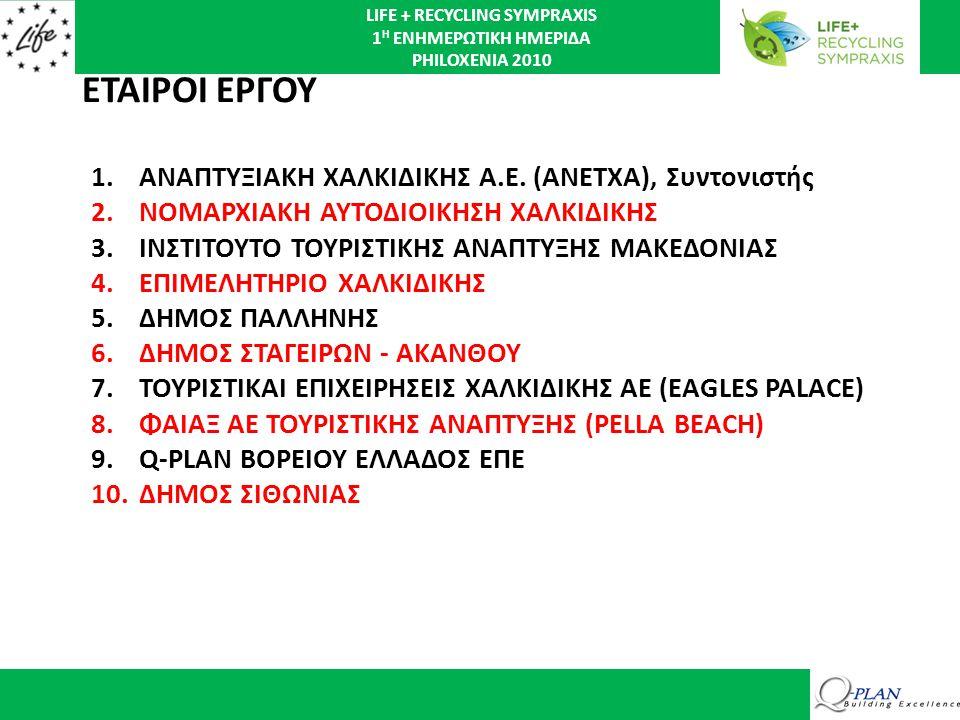 LIFE + RECYCLING SYMPRAXIS 1 Η ΕΝΗΜΕΡΩΤΙΚΗ ΗΜΕΡΙΔΑ PHILOXENIA 2010 ΒΑΣΙΚΟΣ ΣΚΟΠΟΣ ΤΟΥ ΕΡΓΟΥ Η μελέτη, ανάπτυξη και εφαρμογή σε πιλοτικό επίπεδο, εξελιγμένων τοπικών / περιφερειακών Συμπράξεων Ιδιωτικού - Δημοσίου Τομέα (ΣΔΙΤ) για τον περιορισμό, την ανάκτηση και την ανακύκλωση απορριμμάτων.
