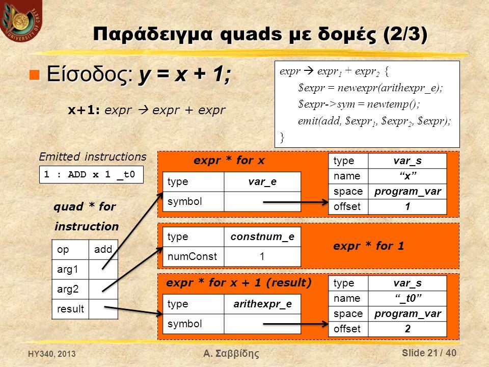 expr  expr 1 + expr 2 { $expr = newexpr(arithexpr_e); $expr->sym = newtemp(); emit(add, $expr 1, $expr 2, $expr); } Παράδειγμα quads με δομές (2/3) Ε